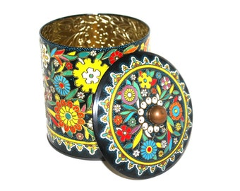 Daher Tin / Cylinder Tin Container / Multicolor Floral Tin / Made In England Tin