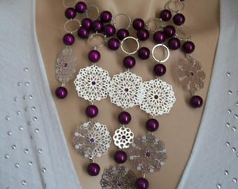 Silver adornment and purple magic Pearl