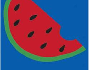 Watermelon Handcrafted Applique House Flag