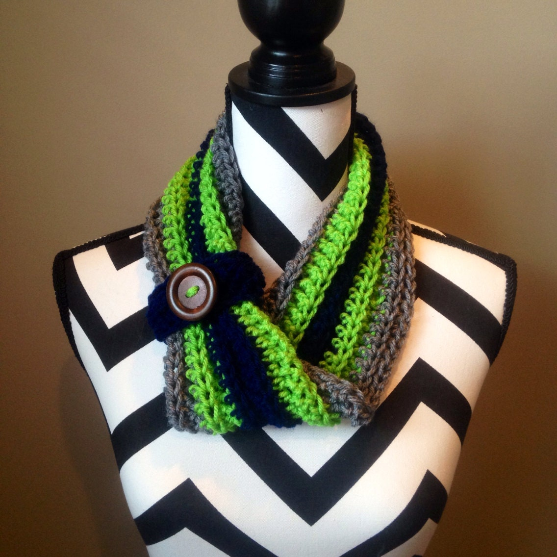 seahawks scarf single wrap by hilohitch on etsy