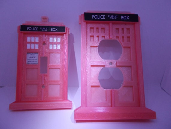 3d doctor who tardis pink breast cancer awareness tardis light for Tardis light switch cover