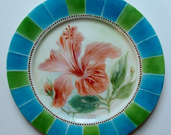 Hand Painted Porcelain Plate - Hibiscus