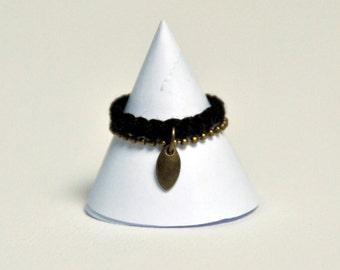 Ring shuttle black duo (cotton braid + brass bronze)