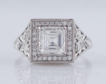 Antique Engagement Ring Art Deco Era 1.14ct Asscher Cut Diamond In Platinum
