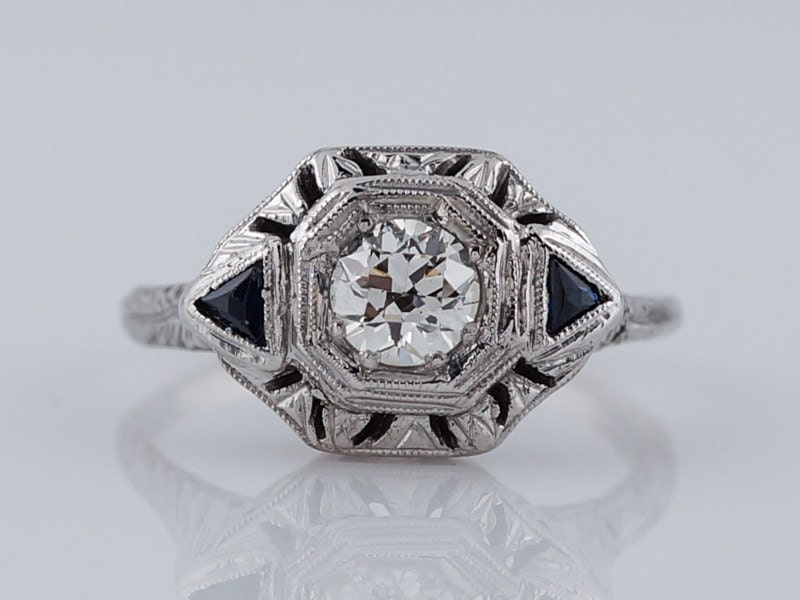 1920 s Engagement Ring Antique Art Deco 43ct by FiligreeJewelers