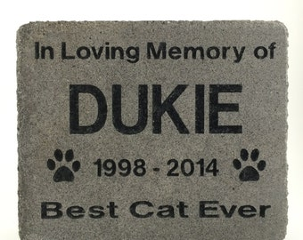 Personalized Pet Memorial Grave Marker Cat headstone Garden Stone