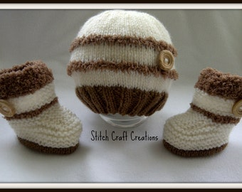 Baby Hat - Baby Booties - Handmade - Hand Knitted Baby Set - Hat & Booties - 0-3 Months