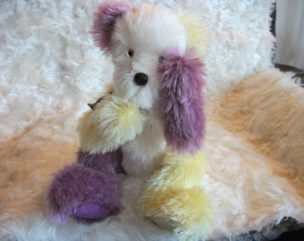 White & hand dyed Lemon and Plum Mohair 10inch Quirky Teddy Bear is a Handsewn  One-of a Kind