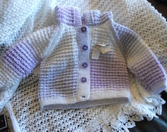Hooded Baby Cardigan Handknitted  in Lilac wool