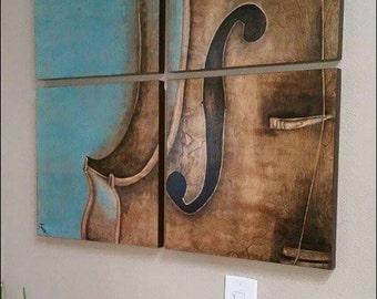 Violin painting on wood