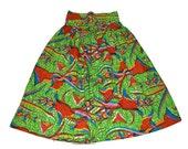 Duan African Print Full Skirt, Ankara Full Skirt, Petite Maxi Skirt, Long High Waist Skirt, Kitenge Skirt, Floral Print, Party Skirt