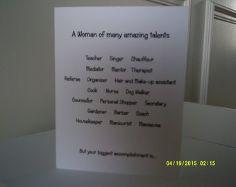 Woman of amazing talents Mother's Day Card