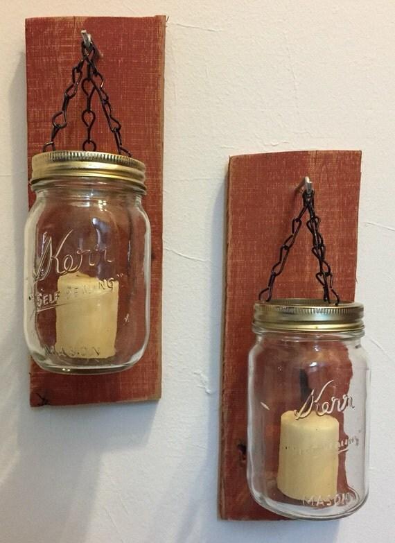 Mason Jar Candle Wall Sconces : Mason Jar Candle Wall Sconces by PJsTradeShack on Etsy