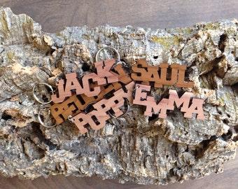 Personalised wooden name keyring