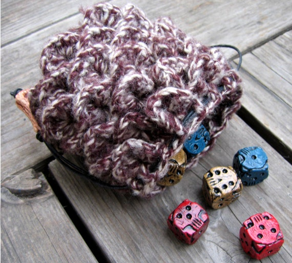 Dragon Dice Bag Crochet Pattern : Crochet dragon scale dice bag brown and white drawstring