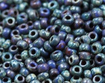 8/0 Royal Blue Picasso Miyuki Seed Beads - 20grams - spectacular colors...