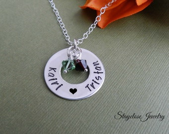 Anniversary necklace, Sterling silver love necklace, couple necklace with birthstone, Anniversary gift for wife, girlfriend, daughter