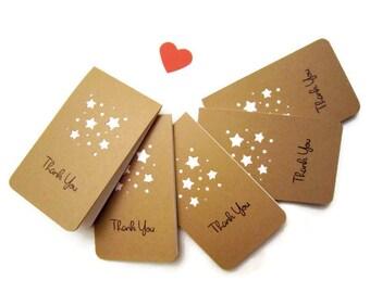 "2.5"" x 4.25"" Mini Thank you Card /Kraft Thank you card / Handmade Thank you card/Simple Thank you card, Set of 8"