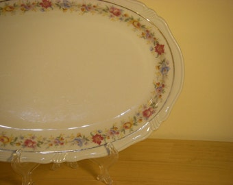 Bareuther Bavaria Germany US-Zone Floral/Gold Oval Platter 11-1/2""