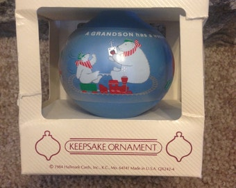 Vintage 1984 Grandson Hallmark Glass Ornament in BOX