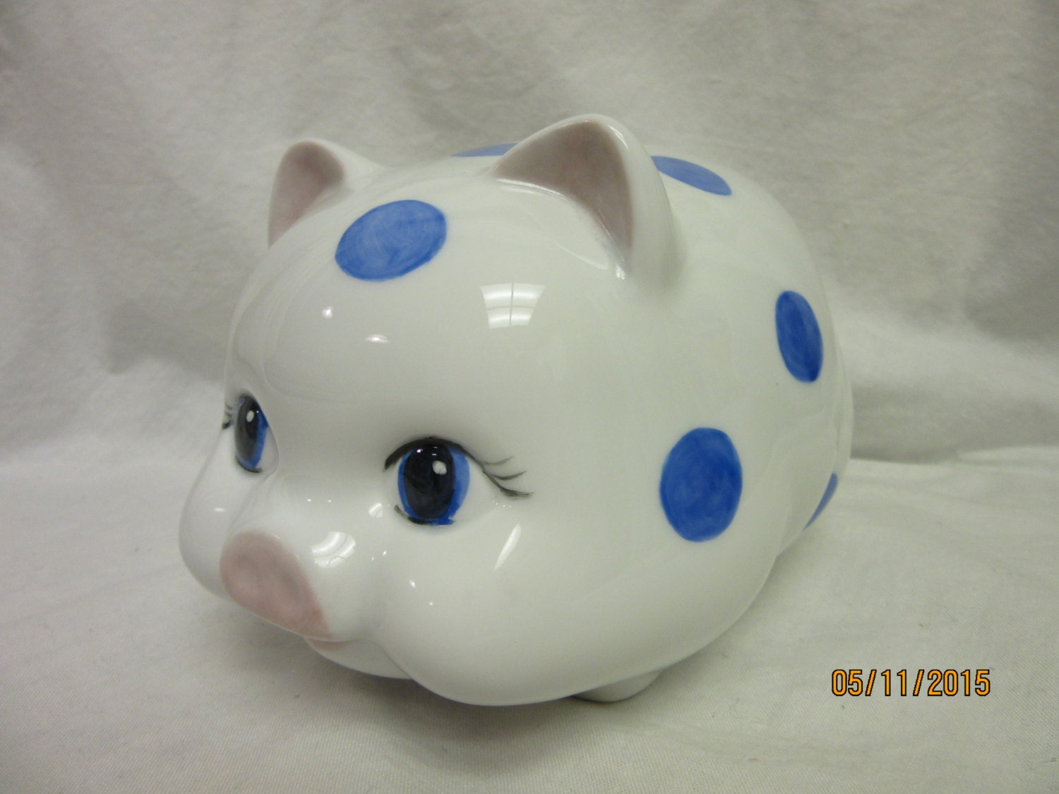 Porcelain bank piggy pig bank gift blue boy by porcelainchinaart - Coin banks for boys ...