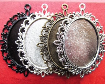 30x40mm Pendant Tray, Bezel Setting, 30x40mm Cabochon Tray - Antique Bronze,Antique Silver,Silver Plated,Black