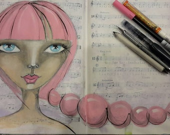 Mixed Media Original Art Print - Pink Bubbles Hair on Whimsical Girl