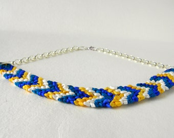 Macrame. Macrame necklace. Natural silk hand dyed laces. Braid