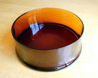 Vintage Amber Glass Salad Bowl