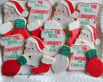 1 dozen Naughty or Nice Christmas cookies!