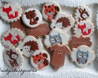 1 dozen woodland baby shower or birthday cookies !