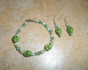 Crystal Skull Bracelet / Earring Set with Aventurine beads