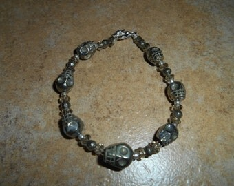 Crystal Skull Pyrite Bracelet