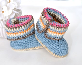 CROCHET PATTERN Baby Booties Stripy Boots for Baby Boy Or Baby Girl Crochet Booties Pattern in 2 sizes Instant Download Digital File