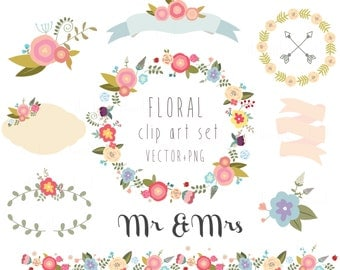 Floral clipart, wedding clipart,vector + PNG Digital Wreath,  Flowers, Ribbons, birds, laurel, border, bunch, frame