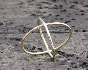 1.0 mm 14 k gold filled hammered cross rings, x rings