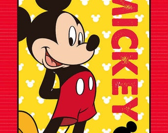 Mickey Mouse Fabric Panel Red and Yellow 1 yard listing, 36 Inches wide
