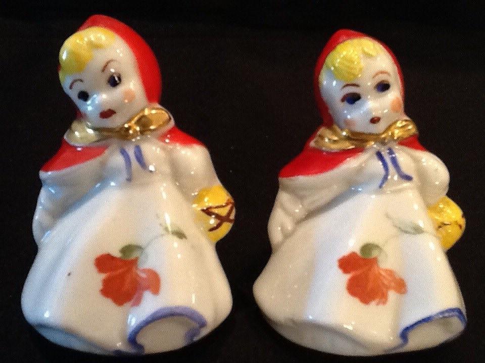 Vintage Little Red Riding Hood Salt Pepper Shakers