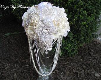 ivory white silver brosch Bouquet , ivory flowers, cascading beautiful Flower Brooch Bouquet , bouquet de fleur, brooch bouquet
