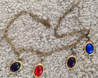 Jewel Tone Five Charm Necklace