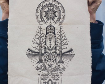 Owl & Fox Screen Print Patch