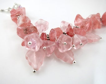 Romantic Flower Beaded Bracelet - Summer Jewelry - Gift for her - Under 30