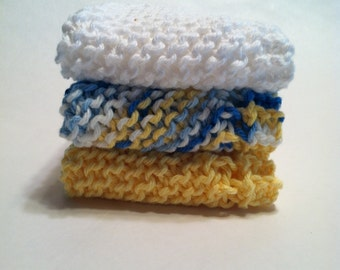 Dish Cloth Trio - Yellow, White, and Variegated