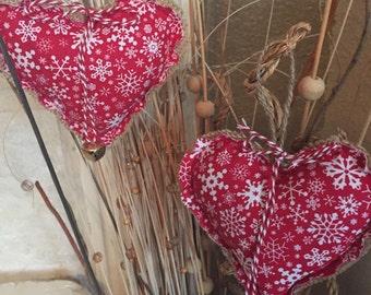 Christmas ornament - stuffed heart hanging ornament - burlap