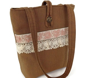 Brown handbag with French Ribbon, Brown handbag lace trim, Brown lace purse, Shoulder bag lace, Brown purse lace, Brown tote lace