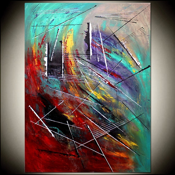 Extra Large 52 Vertical Acrylic Painting On Canvas