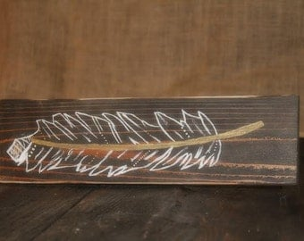 Feather wood sign