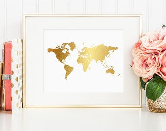 World map faux gold art printable - wall decor, home or office wall art, 8 x 10 (Printable wall art decor - Instant digital download - JPG)