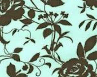 FC11204 Robert Kaufman Designer 100% Cotton Aqua Blue Brown Roses By the yard