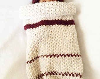 Crochet Baby Cocoon, Baby Gift, Crocheted New Born Layette, Baby Blanket, Baby Hat, Infant Hat Set, Infant Newborn Blanket set
